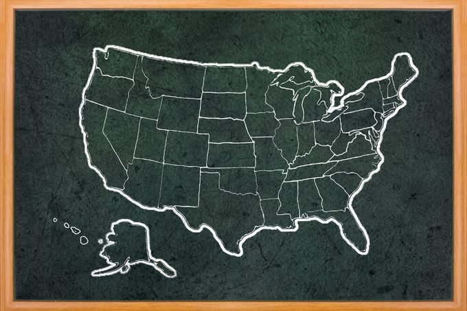America map draw on grunge blackboard with wooden frame