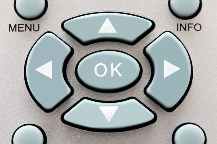 Remote control playback keypad with white symbols