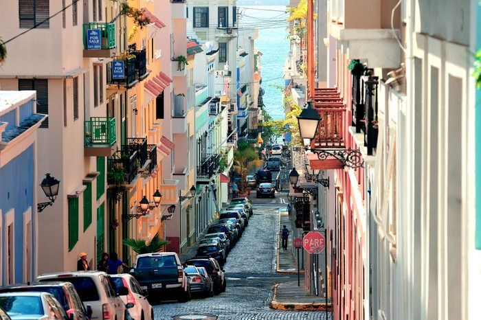 SAN JUAN, PUERTO RICO - JAN 7: Old street in downtown on January 7, 2013 in San Juan, Puerto Rico. San Juan is the capital and most populous municipality in Puerto Rico.