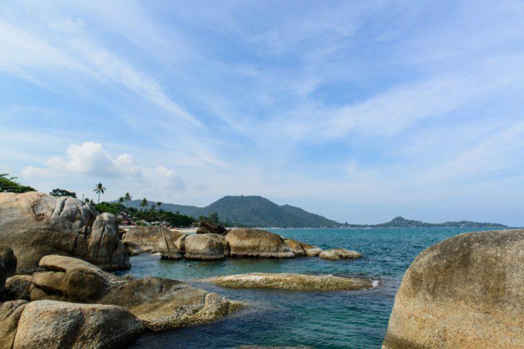 Scenic view at the scenic spots of Lamai beach near Hin Ta & Hin Yai Rocks, Koh Samui, Surat Thani, Thailand.