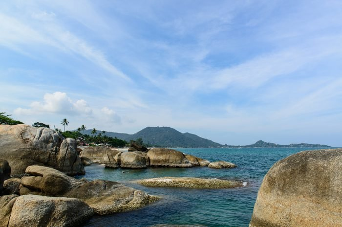 Scenic view at the scenic spots of Lamai beach near Hin Ta & Hin Yai Rocks, Koh Samui, Surat Thani, Thailand.