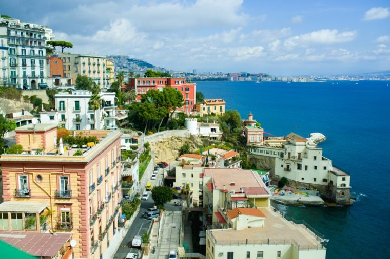 Sunny spring panorama. Colorful sunrise. Naples, Italy.