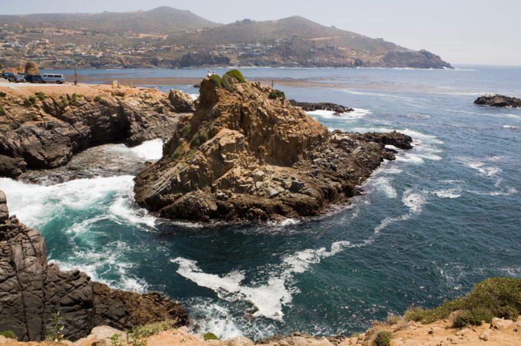 Beautiful ocean water and rocks near La Bufadora Ensenada, Baja California, Mexico