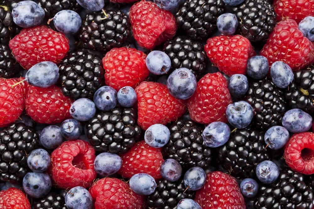Raspberry, blackberry and blueberry background