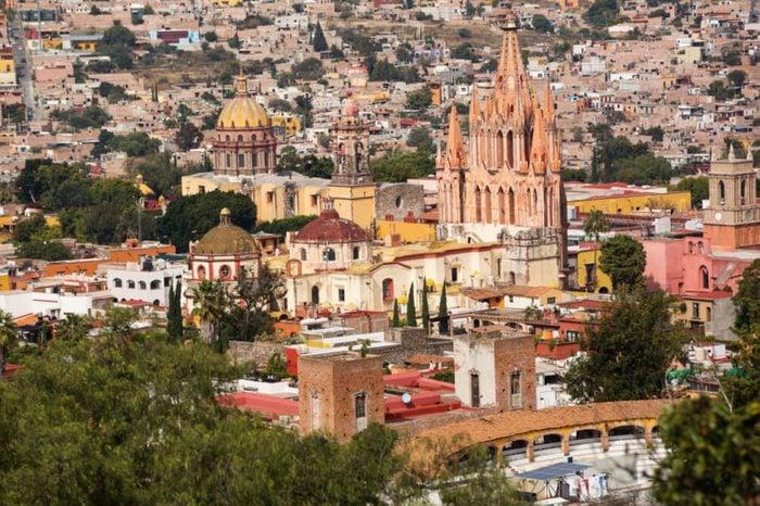 the center of San Miguel de Allende, Guanajuato, Mexico, seen from above