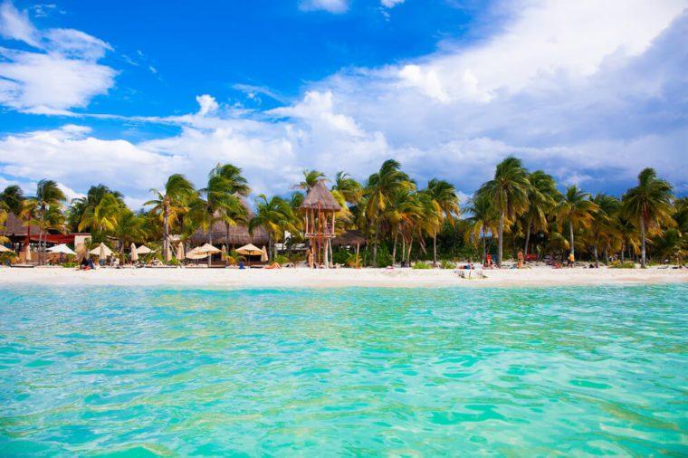 Norten beach on colorful Isla Mujeres island near Cancun in Mexico. Latin America.