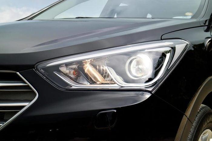Hong Kong, China Nov 17, 2015 : Hyundai SantaFe 2015 Head Light on Nov 17 2015 in Hong Kong.