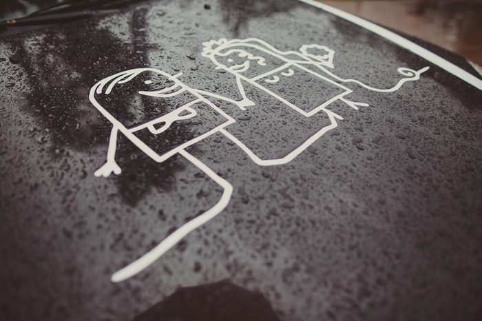Animated picture of newlyweds on the black car