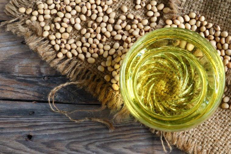 Soybean oil, soybean on sacks