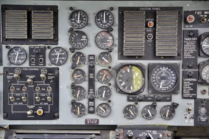 Instruments and switches of old aircraft cockpit