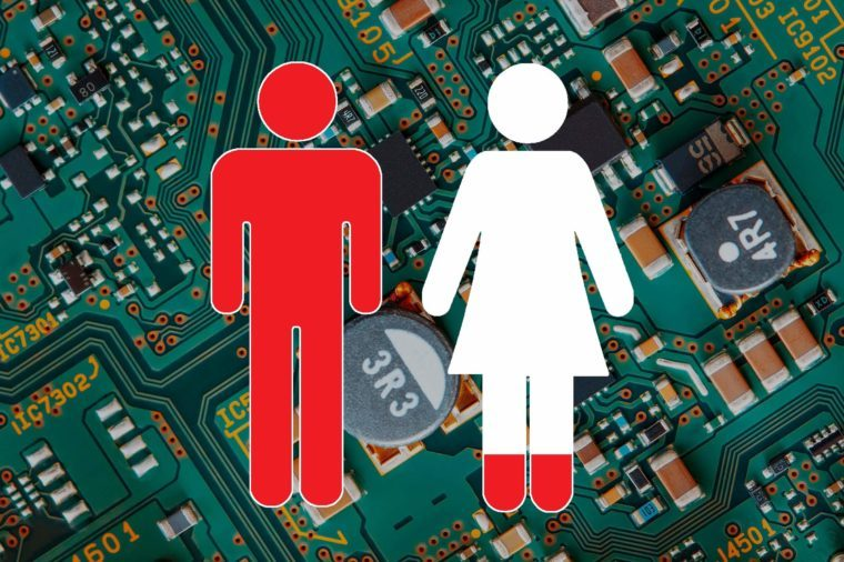 computer circuit board close up with man and woman symbols overlay