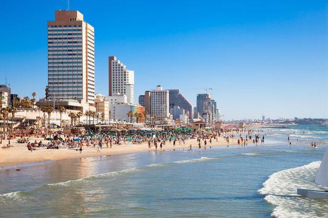 Panoramic view of the Tel-Aviv public beach on Mediterranean sea. Israel
