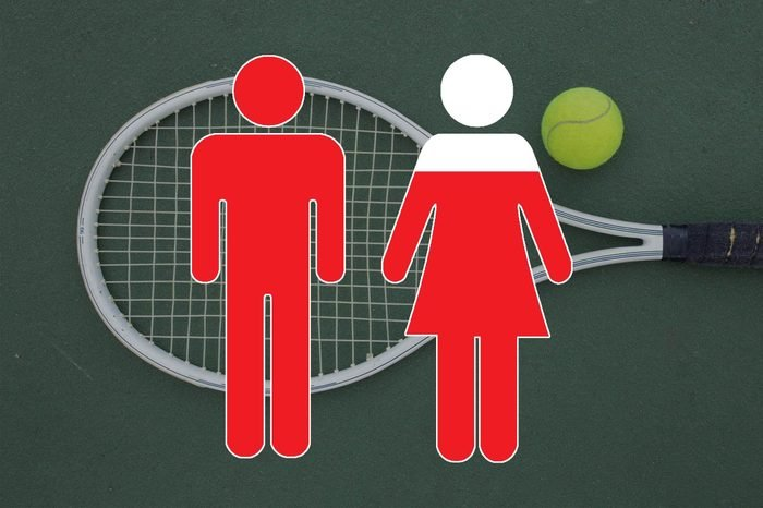 tennis racket and tennis ball on tennis court ground with man and woman symbols overlay