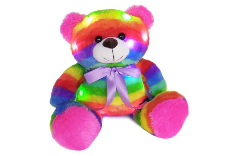 "The Noodley 14"" LED Light Up Rainbow Teddy Bear with Timer Colorful Stuffed Animal Night Light Kids Gift and Birthday Present Gifts for Girls Age 3 4 5 6..."