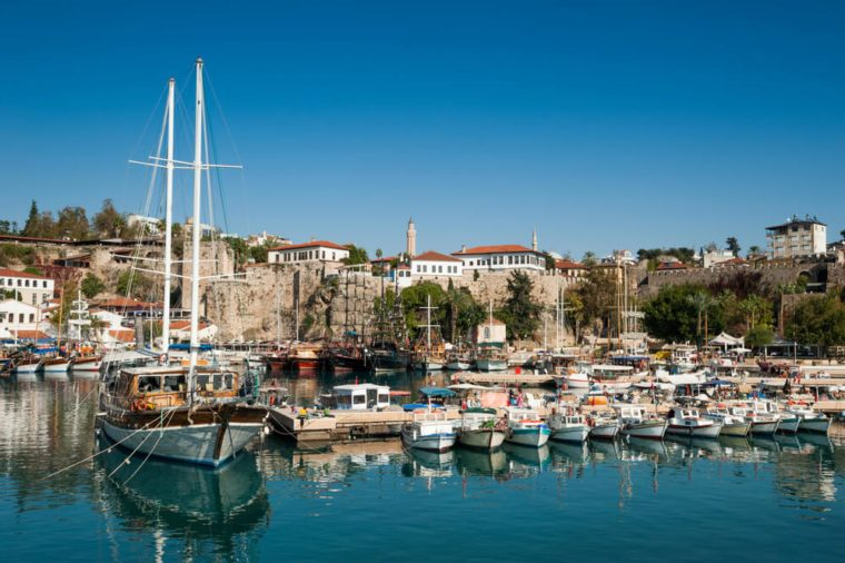 Old marina of Antalya. no names of boats and unrecognizable faces!