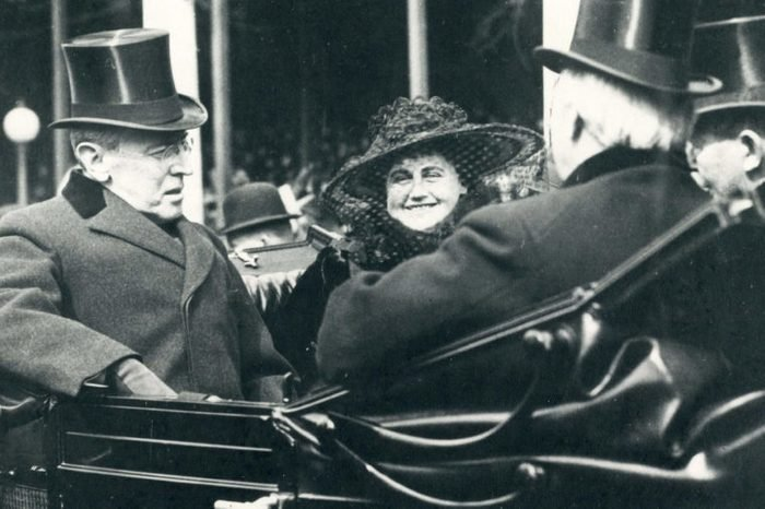 Washington, Dc, March 4, 1917 - President Woodrow Wilson And Mrs. Wilson (Edith Galt Wilson) At The President's Second Inauguration