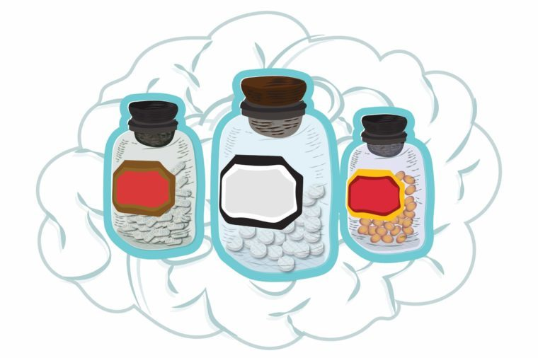 illustration of pill bottles superimposed over a brain
