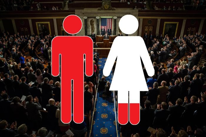 congressional floor view with man and woman outline overlay