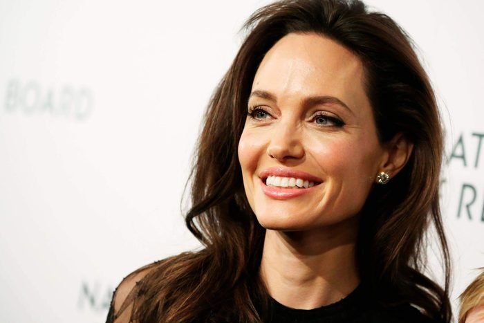 Angelina Jolie with whispy hairs around her face