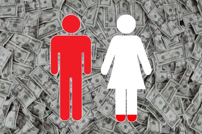 money background with man and woman sybols overlay