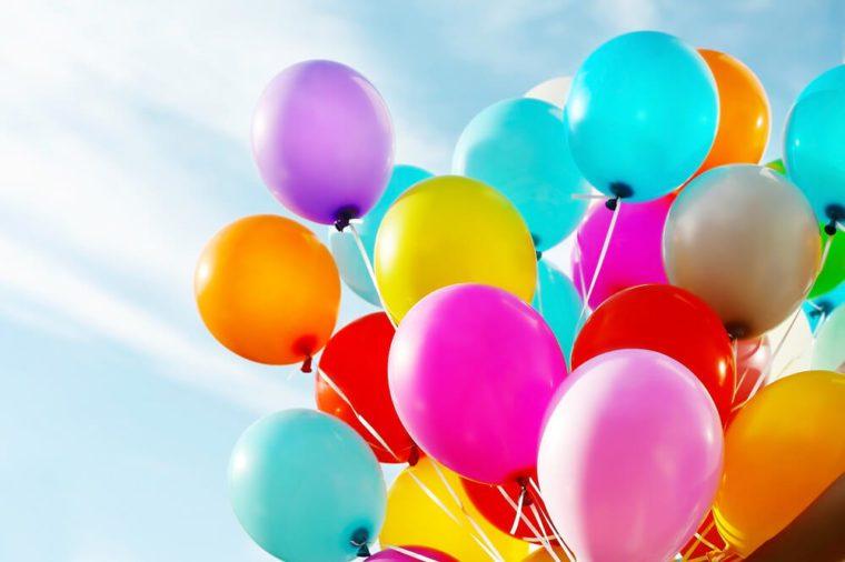 Colorful birthday balloons, closeup