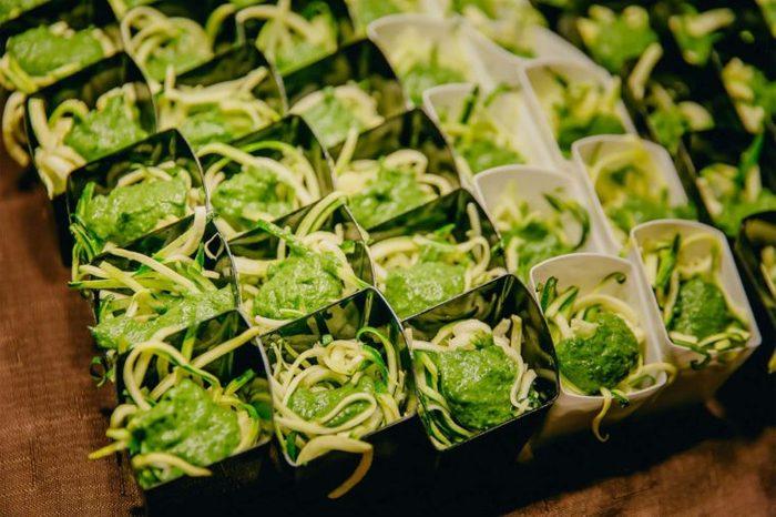 zucchini noodles with cilantro pesto