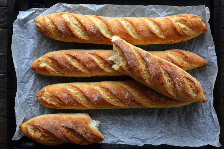 crunchy french baguette above