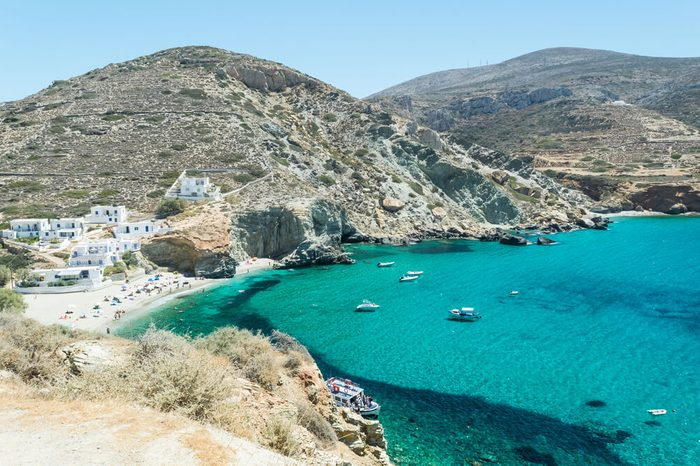 Amazing and colorful Agali Beach, Folegandros Island, Cyclades, Aegean Sea, Greece during summer