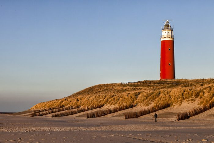 Lighthouse on Texel in the setting sun