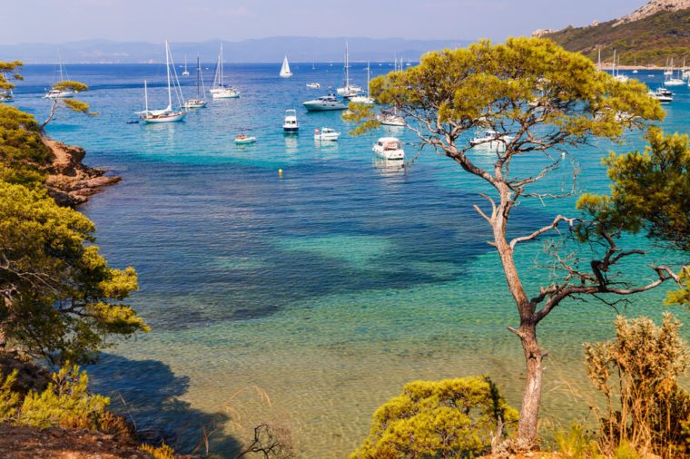 Beautiful bay with yachts in Porquerolles, the island in southern France.