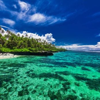 Beach with coral reef on south side of Upolu, Samoa Islands