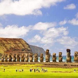 CHILE - FEBRUARY 6: Moais of Ahu Tongariki on Easter Island, Chile.
