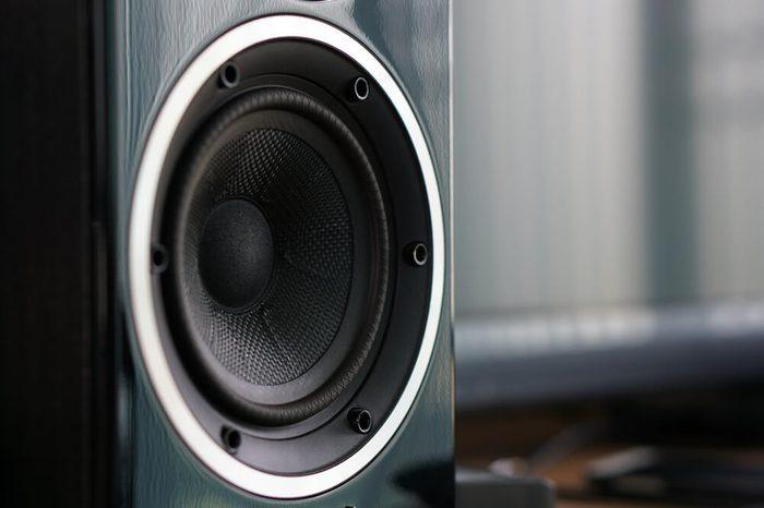 Close up details of loudspeaker woofer and tweeter driver.