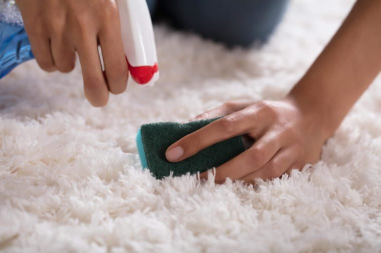 Close-up Of A Person's Hand Cleaning Carpet With Sponge