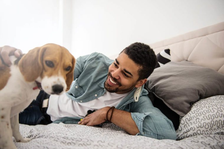 Handsome man playing with his dog in the bed.