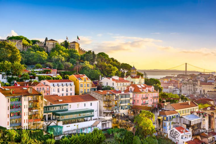 Lisbon, Portugal skyline at Sao Jorge Castle in the afternoon.