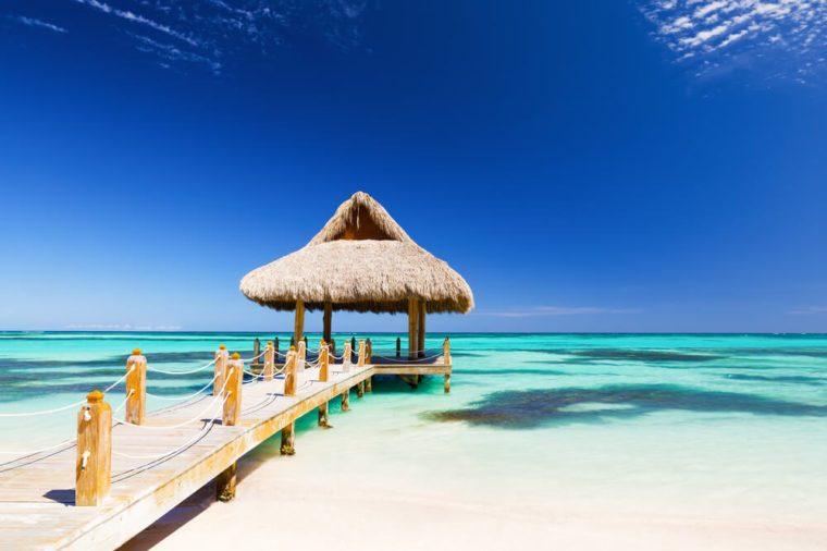 Beautiful Tropical White Sandy Beach In Cap Cana Dominican Republic