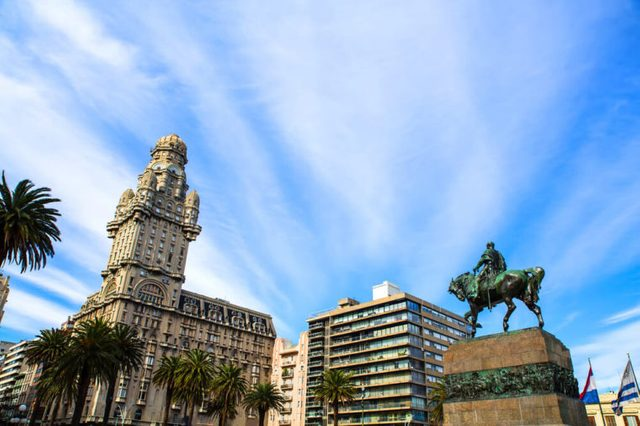 View over the Plaza Independencia in Montevideo , Uruguay.