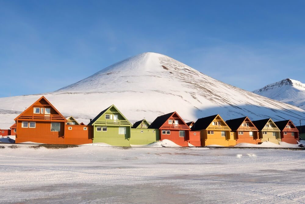 Colorful houses at Longyearbyen, the northern most settlement in the world