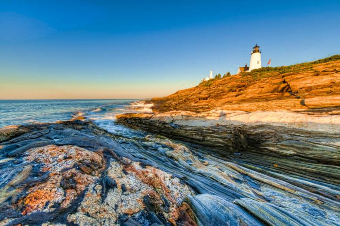 Early morning sunrise at the Pemaquid Point Lighthouse in Maine, USA