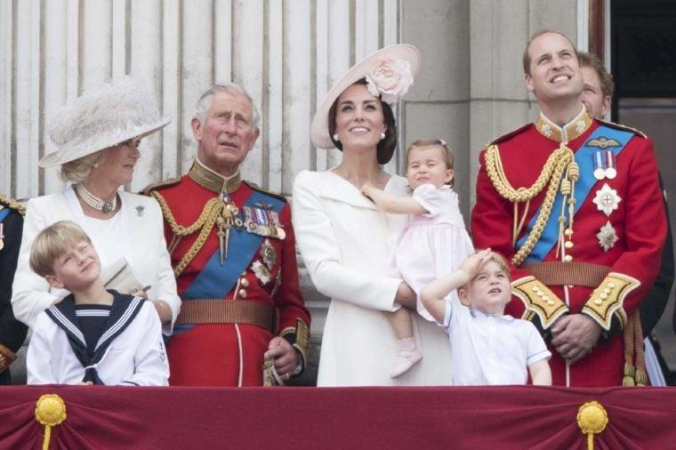 Camilla Duchess of Cornwall, Prince Charles, Catherine Duchess of Cambridge, Princess Charlotte of Cambridge, Prince George, Prince William watch the flypast from tha balcony of Buckingaham Palace