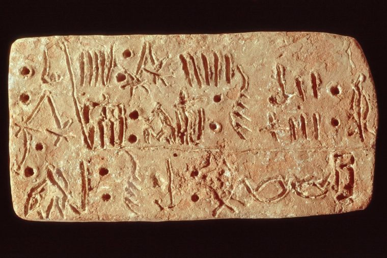 Linear A inscription on tablet, c. 1500 - 1400 BC from Palace of Knossos, Crete