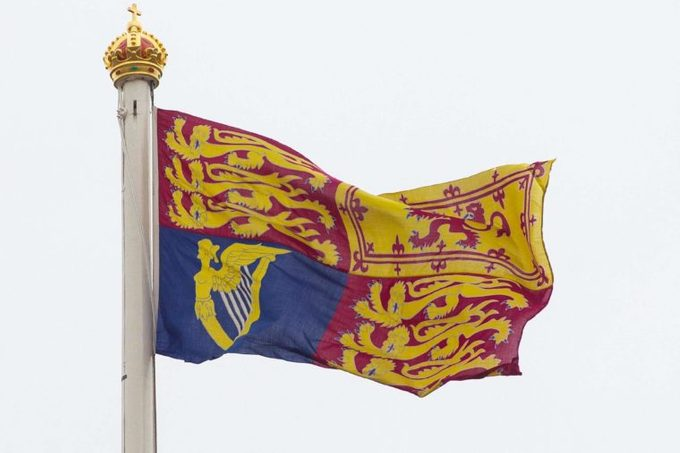 The Royal Standard of the United Kingdom is the flag used by Elizabeth II in her capacity as Sovereign of the United Kingdom.