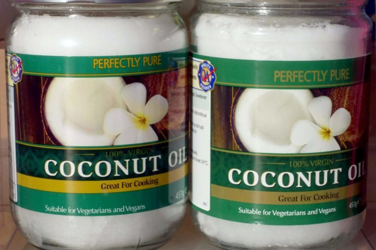 Jars of coconut oil for cooking, London