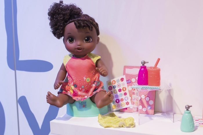 The BABY ALIVE POTTY DANCE doll sits on her own potty and sings a song, at the American International Toy Fair on in New York