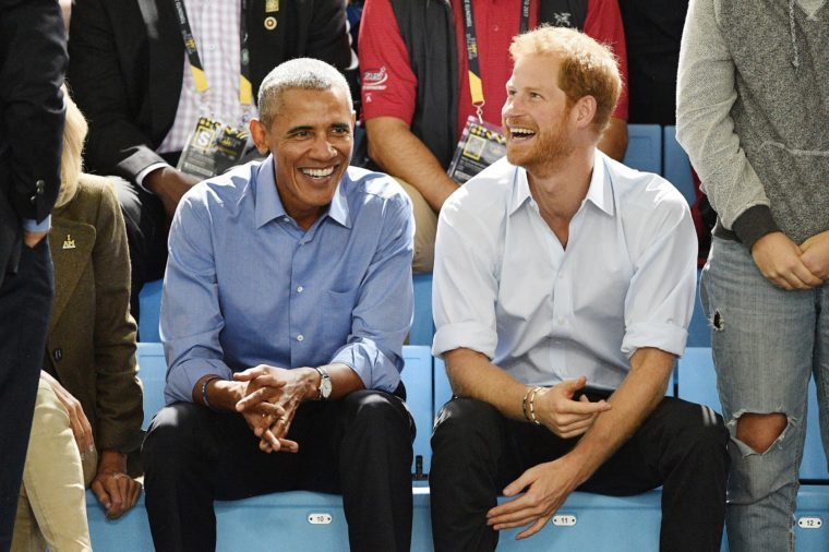 Prince Harry and former President Barack Obama watch wheelchair basketball at the Invictus Games at the Pan Am sports centre in Toronto, Canada on September 29, 2017.