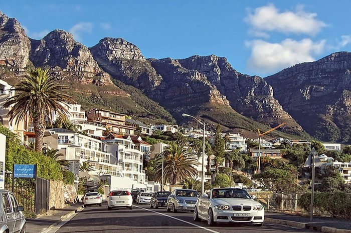 Wonderful photo of beautiful Cape Town area. Amazing urban cityscape with Twelve Apostles Mountain Passes in the background. South African cities. Cape Town. South Africa -December25, 2012