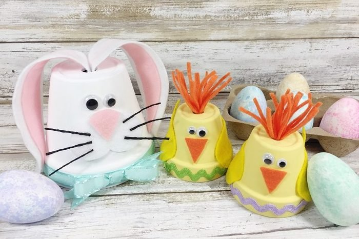 cute chick and bunny clay pots craft idea