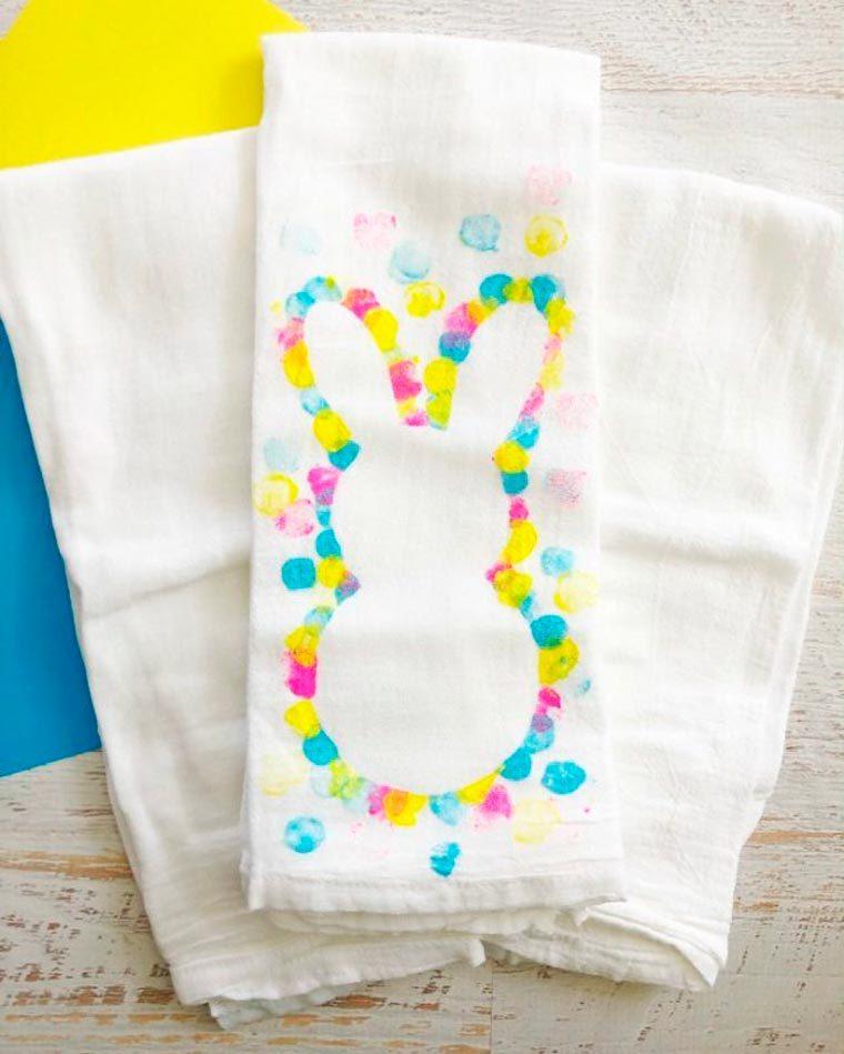 easter bunny tea towel spring craft idea