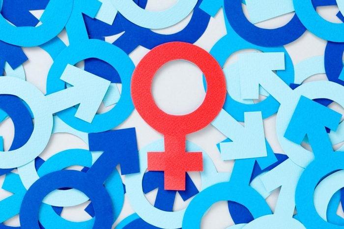 female symbol among male symbols